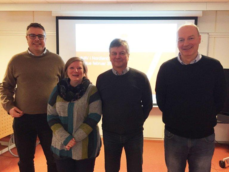 Fra venstre: Knut Erik Dahlmo, Prosjektleder: NAV Nordland i en ny tid, Ann-Karin Doyle Lillehaug, leder Nav Meløy, Kolbjørn Karlsen, leder NAV Narvik og Morten Pedersen, leder NAV Fauske.