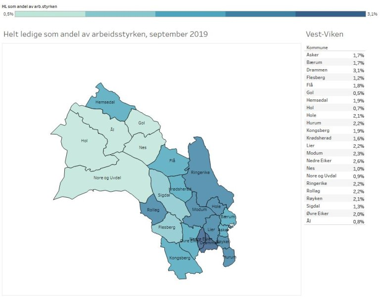 Her er en oversikt over helt ledige i de ulike kommunene i Vest-Viken.