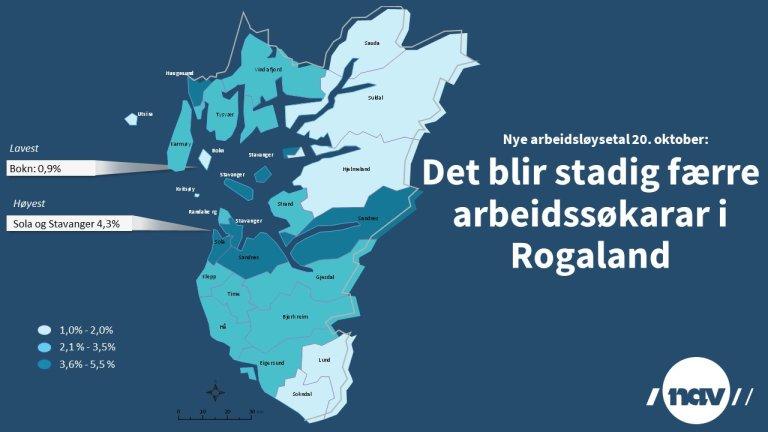 Arbeidsløysa i Rogalamd per 20.oktober 2020